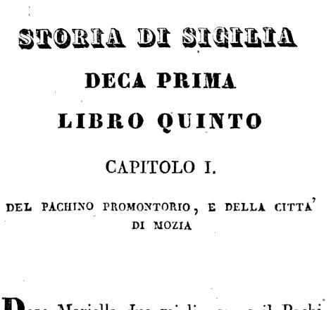 DECA PRIMA LIBRO QUINTO CAPITOLO I DEli PACHINO PROMONTORIO E DELLA CITTA DI MOZIA