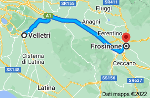 Mappa da Velletri, 00049 RM a Frosinone, 03100 FR